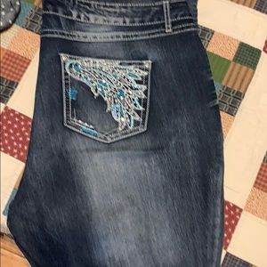 Cato bootcut jeans with jeweled back pockets